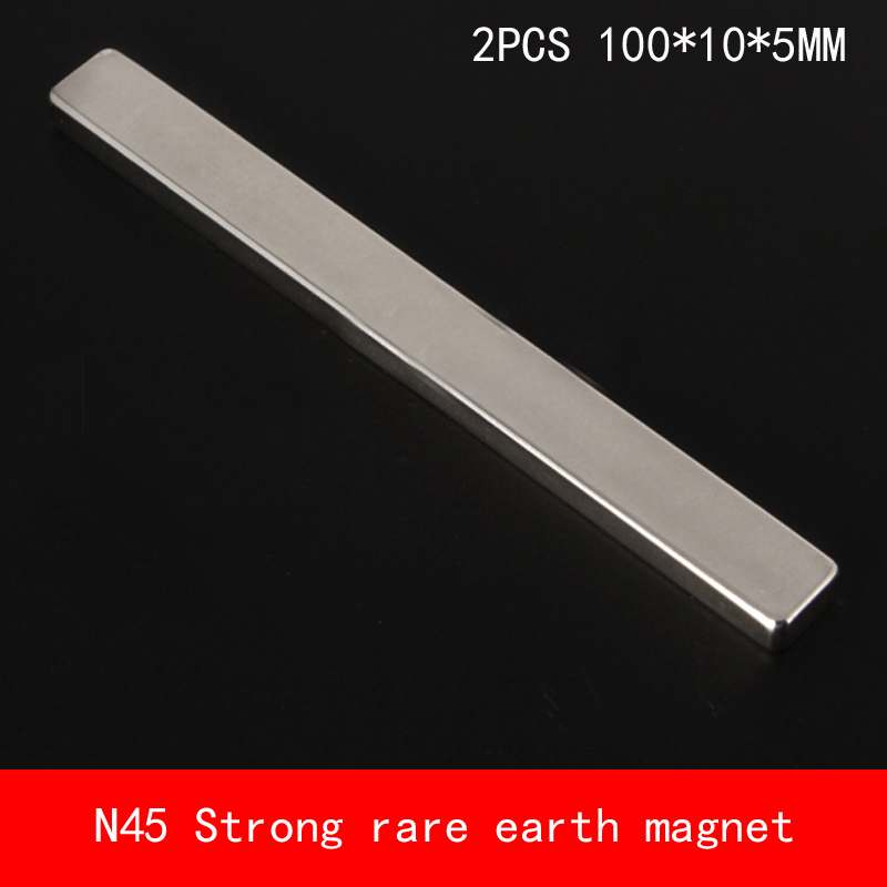 2PCS 100*10*5mm N45 strip Strong NdFeB rare earth magnet permanent 100X10X5MM earth 2 society vol 4 life after death