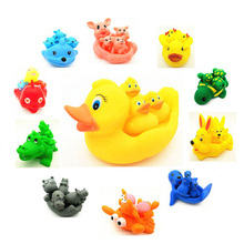 Baby Bath Toys 4pcs Cute Toy Rubber Race Squeaky Animal Set Bathing Classic Water 0 12