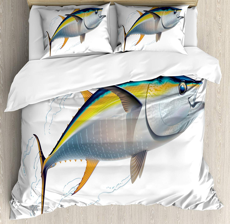 Ensemble housse de couette poisson thon albacore réaliste illustré d'ombres et d'eau détails sur ailettes ensemble de literie 4 pièces