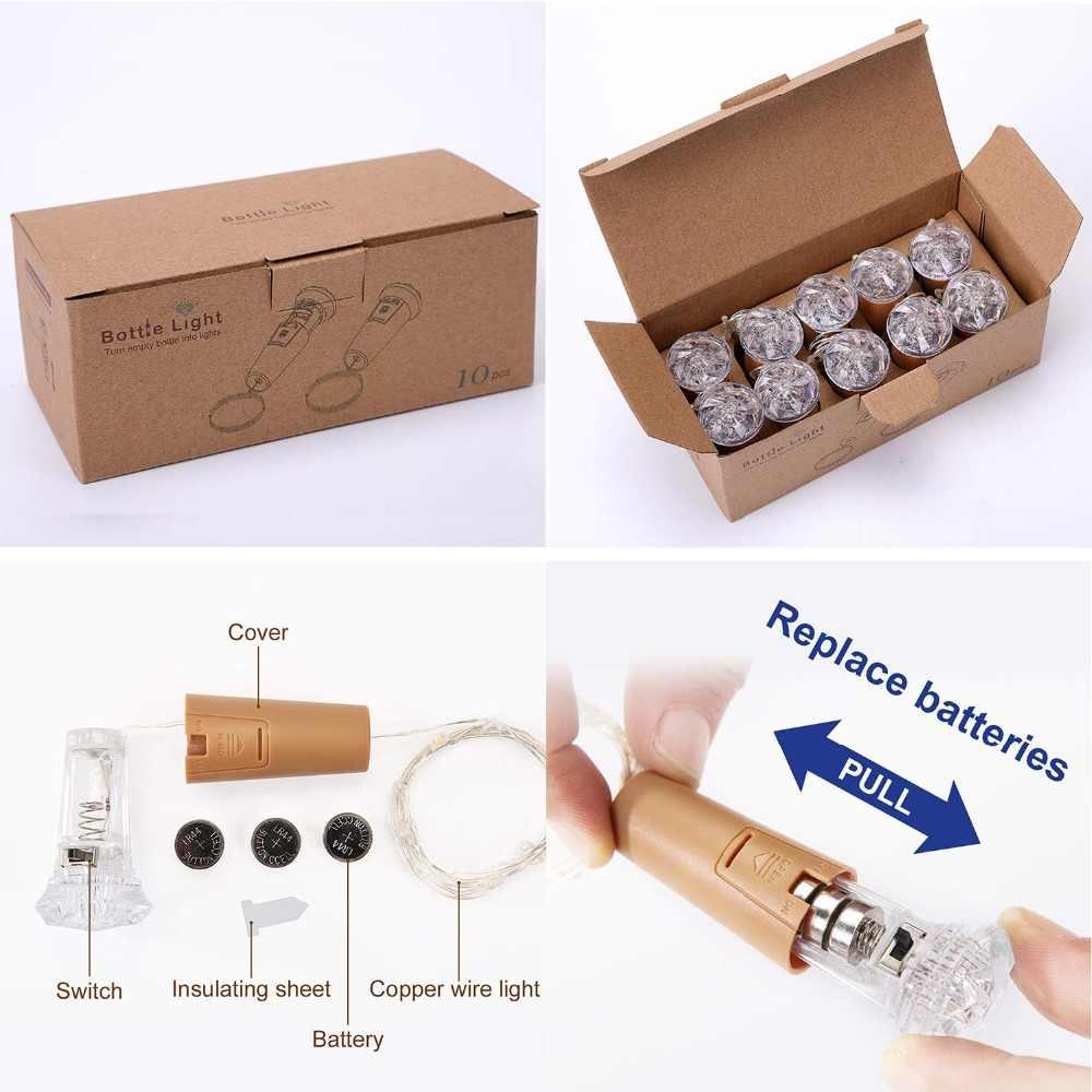 ホットボトルコルクライト 10 パックフェアリーライト 30 電池プリインストール + 30 送料バッテリー交換付属バッテリー操作 Led
