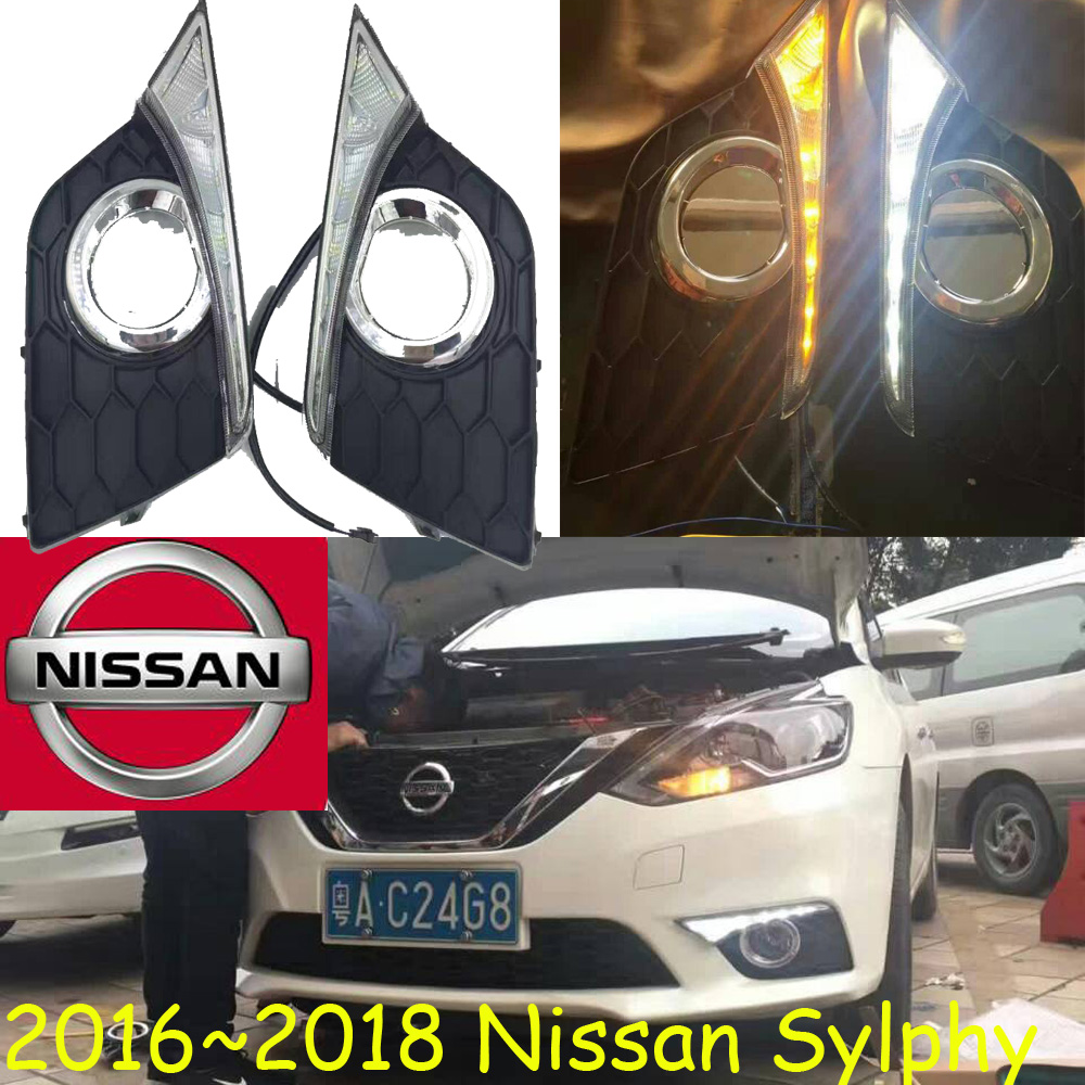 Sylphy daytime light,2015~2017!Free ship!LED,bluebird fog light;Sylphy;bluebird daytime light; Lannia,Micra,Titan,versa,stanza sylphy daytime light 2015 2017 free ship led car styling 2ps set sylphy fog light chrome car covers lannia