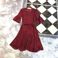 2018 Summer Vintage Retro Floral Dress O Neck Flare Sleeve Dress All Wine Red A line Dresses