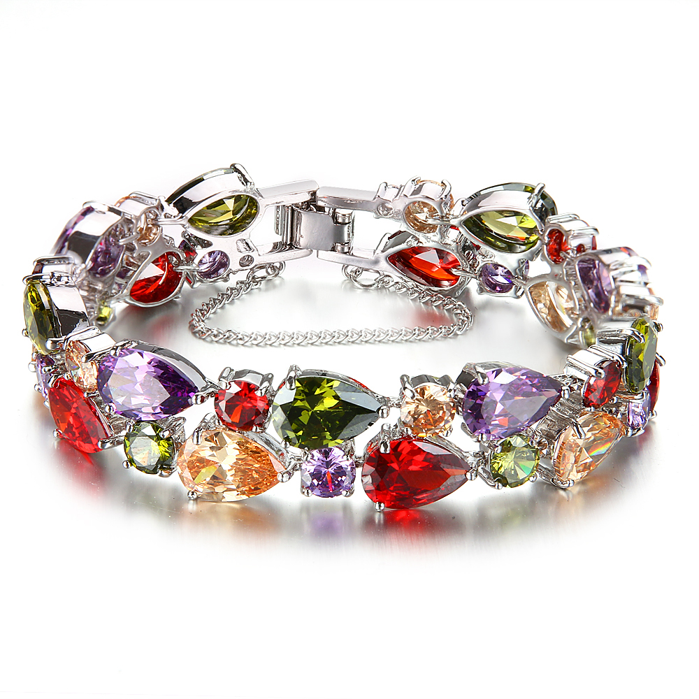 "HERMOSA jewelry 34PCS. NATURAL AAA Multicolor Morganite GarnetAmethyst Peridot 925 Sterling Silver Bracelet 8"" DW31"