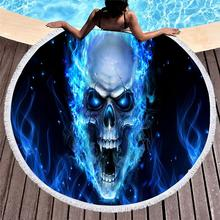 3D Skull Round Beach Towel Microfiber Fabric 150cm Size dropshipping Towers