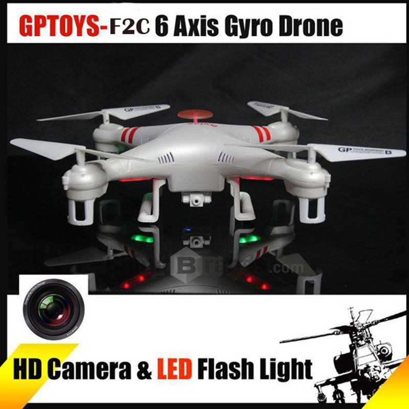 GPTOYS F2C Headless Mode +360 Degree Rotation Function+LED Flashing Lights RC Helicopter Drone with 2.0MP HD Camera 4G Card Toy f809 2 in 1 rc flying car 4wd 2 4g 4ch remote control drone with wifi camera rc quadcoter headless mode 360 degree vs x25 x9