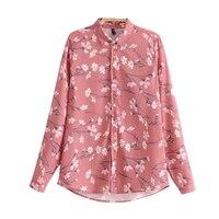 Для женщин французский смешанный хлопок рубашка. Розовая рубашка с длинными рукавами ромашка с цветочным принтом Для женщин Повседневное х