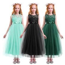 Bridesmaid Dress for Kids Elegant Wedding Flower Girls dress Princess Photography Props Tulle Ball Gown Long