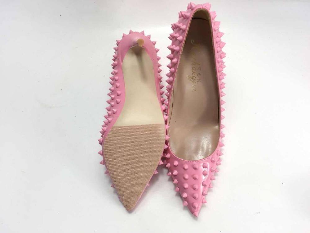 Keshangjia 2018 New Spring Pointed Toe Pink Color Lady Pumps High Heels Rivet Wedding Bride Party