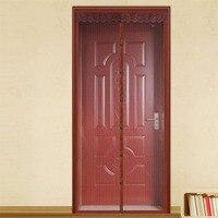 FUYA Magnetic Sheer Door Curtain Instant Screen Door Mosquito Net Magnet Stripes Solid Curtain Mesh Brown