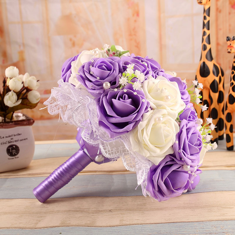 Wedding Flowers Cheap Online: Online Get Cheap Purple Wedding Bouquets -Aliexpress.com