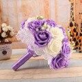 2016 Hermosa Púrpura de La Boda Ramos de Novia Flores de La Boda Ramo Todos Hechos A Mano Perlas Artificiales Flor de Rose Bouquet