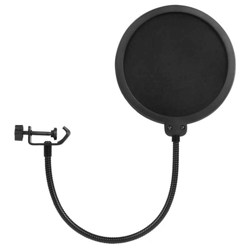 Updated Microphone Pop Filter Dual Layer Mic Pop Shield with Clip Stabilizing Arm for Recording Vocals Home Studio Broadcasting studio mini microfone professional microphone mic wind screen pop filter for koraoke video singing recording cover mask shield