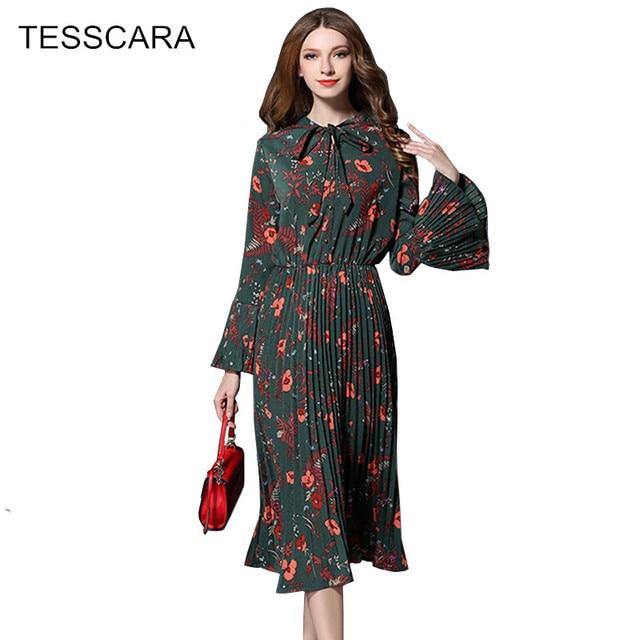 Для женщин Весна и осень Винтаж Плиссированное Платье рубашка женский чешские Стиль принтом Vestidos ретро роковой сладкий длиной макси Костюмы