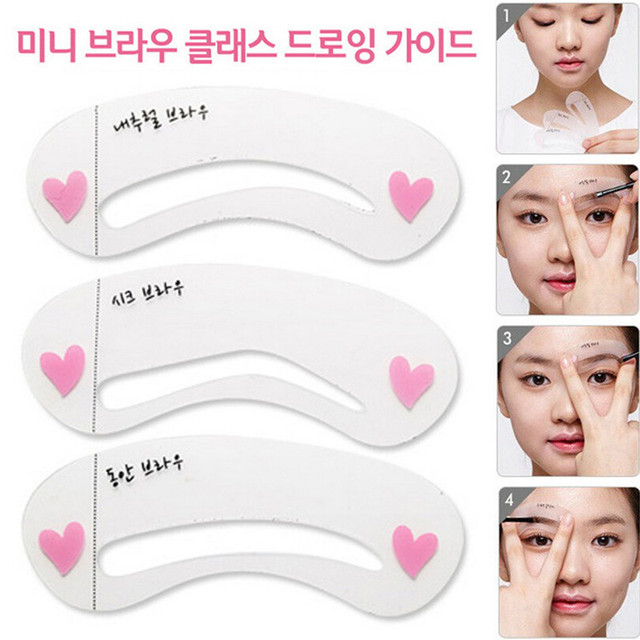 3 styles reusable Eyebrow stencil pencil for eyebrows enhancer drawing guide card brow template DIY make up tools #217