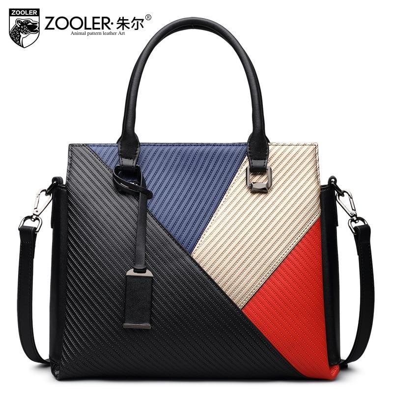 ZOOLER Luxury Fashion Patchwork Genuine Leather Tote Bags Handbags Women Famous Brands Designer Messenger Shoulder Bag Bolsas