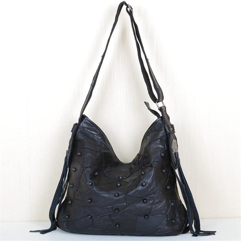 Caerlif 2016 new fashion leisure leather soft rivet irregular pattern stitching package single shoulder bag bag, clutch handbag
