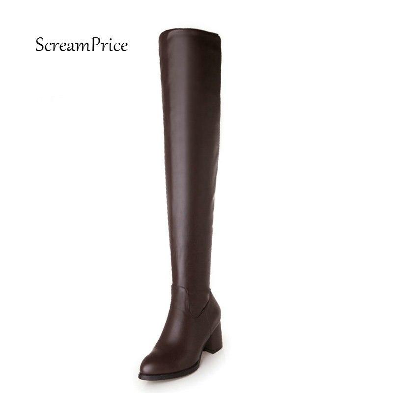 女性側ジッパーオーバー膝ブーツ厚い冬のブーツ  グループ上の 靴 からの 膝上 ブーツ の中 1