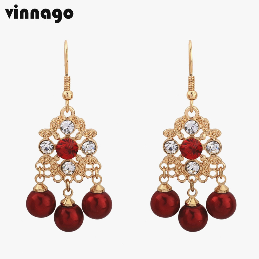 2018 new trendy crystal red beads fringed earrings gold color ...