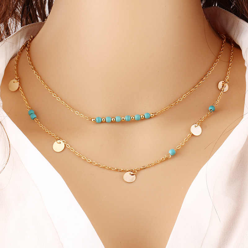 Nature Stone Multi Layer Necklace Gold Color Charming Spangle Collar Necklaces for Women Green Stone Neckless Women Jewelry