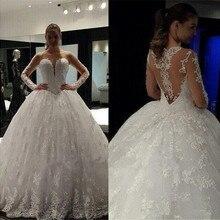 Baroque Summer Long Sleeve Muslim Wedding Dress Ball Gown