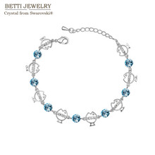2017 New Bijoux mother's day gift Fashion crystal cute fish bracelet made with swarovski elements jewelry factory wholesale(China)