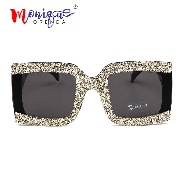 Square oversized sunglasses women 2019 fashion half frame bling rhinestone sun glasses lady vintage shades gafas oculos de sol