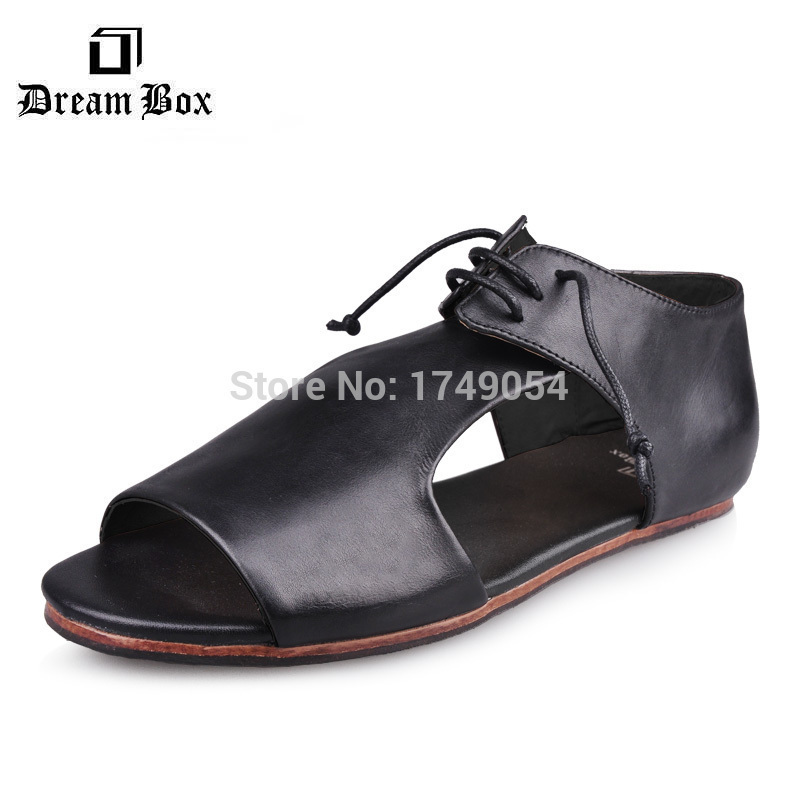 d09ed2901d513 Free shipping Marsell leather peep toe men s shoes casual new summer  sandals shoes for males-in Women s Flats from Shoes on Aliexpress.com