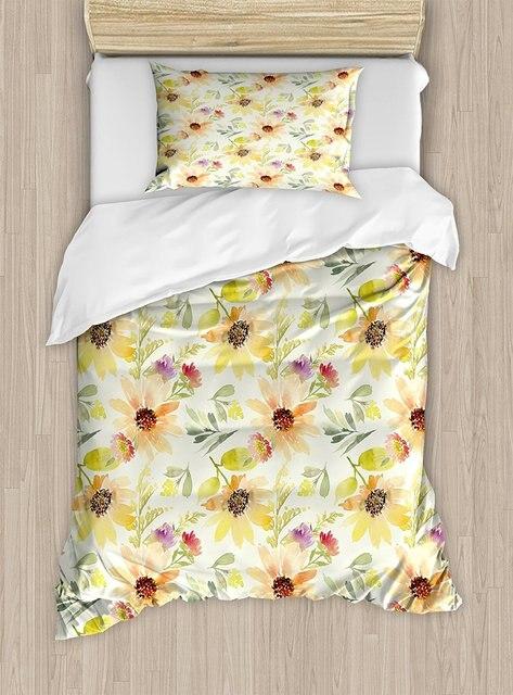 Acuarela flor edredón color Pastel verano girasoles con pálido hojas ...