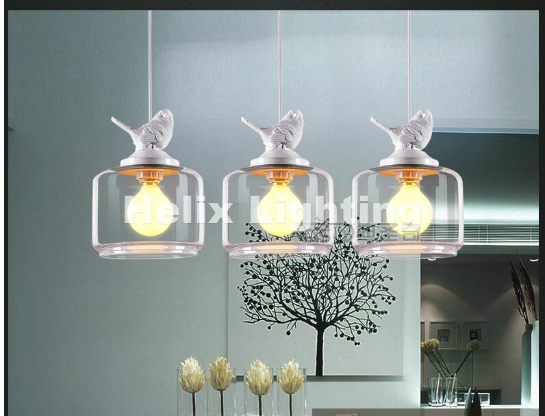 Free Shipping LED Modern Light Pendant Lamp Decor Dining Room Living Room Suspension Fixtures Glass Lampshade Resin Bird Lamp 20 beige free shipping crystals string pendant light elegant living room pendant lamps fabric dining room pendant lamp