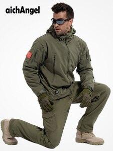 الشتاء الخريف للماء القرش الجلد سترة جسم ناعمة مجموعة الرجال التكتيكية سترة كامو العسكرية الجيش الملابس دعوى