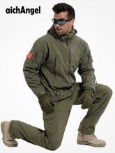 冬秋防水サメ皮ソフトシェルジャケットセット男性の戦術ジャケットカモミリタリー陸軍服スーツ