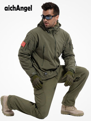 Autunno inverno Impermeabile Shark Skin Soft Borsette Set Giacca Da Uomo Tactical Jacket Camo Dell'esercito Militare Copre il Vestito