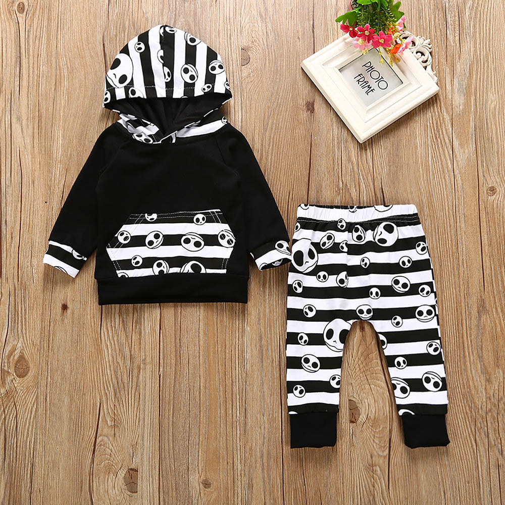 muqgew halloween toddler baby boys striped tops hoodie pants outfits