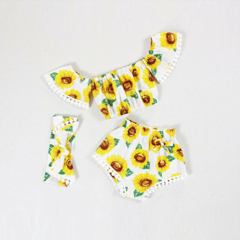 New Summer 3Pcs Newborn Infant Baby Girl Outfits Clothes Off Shoulder Yellow Tops Sunflower Print Shorts Cute Headband Set