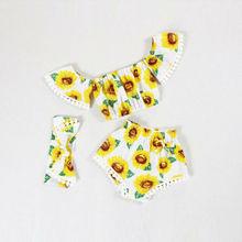 New Summer 3Pcs Newborn Infant Baby Girl Outfits Clothes Off Shoulder Yellow Tops Sunflower Print Shorts Cute Headband Set недорго, оригинальная цена