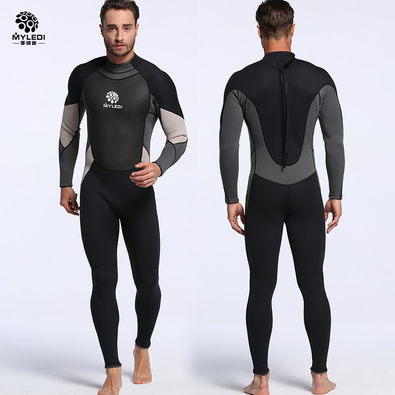 3MM Neoprene Wetsuit Super Elastic Long-sleeved Siamese Diving Suit Waterproof Warm Surfing Suit Size S-XXL fashion long sleeves surfing suit black grey size xl page 2