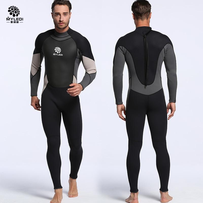 3MM Neoprene Wetsuit Super Elastic Long-sleeved Siamese Diving Suit Waterproof Warm Surfing Suit Size S-XXL цена