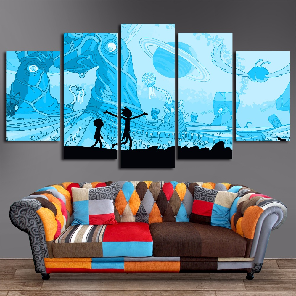 Home Decor Print Paint 5 Pieces Modular Rick And Morty Vintage Art Canvas Cartoon Wall Picture For Living Room Animation Poster