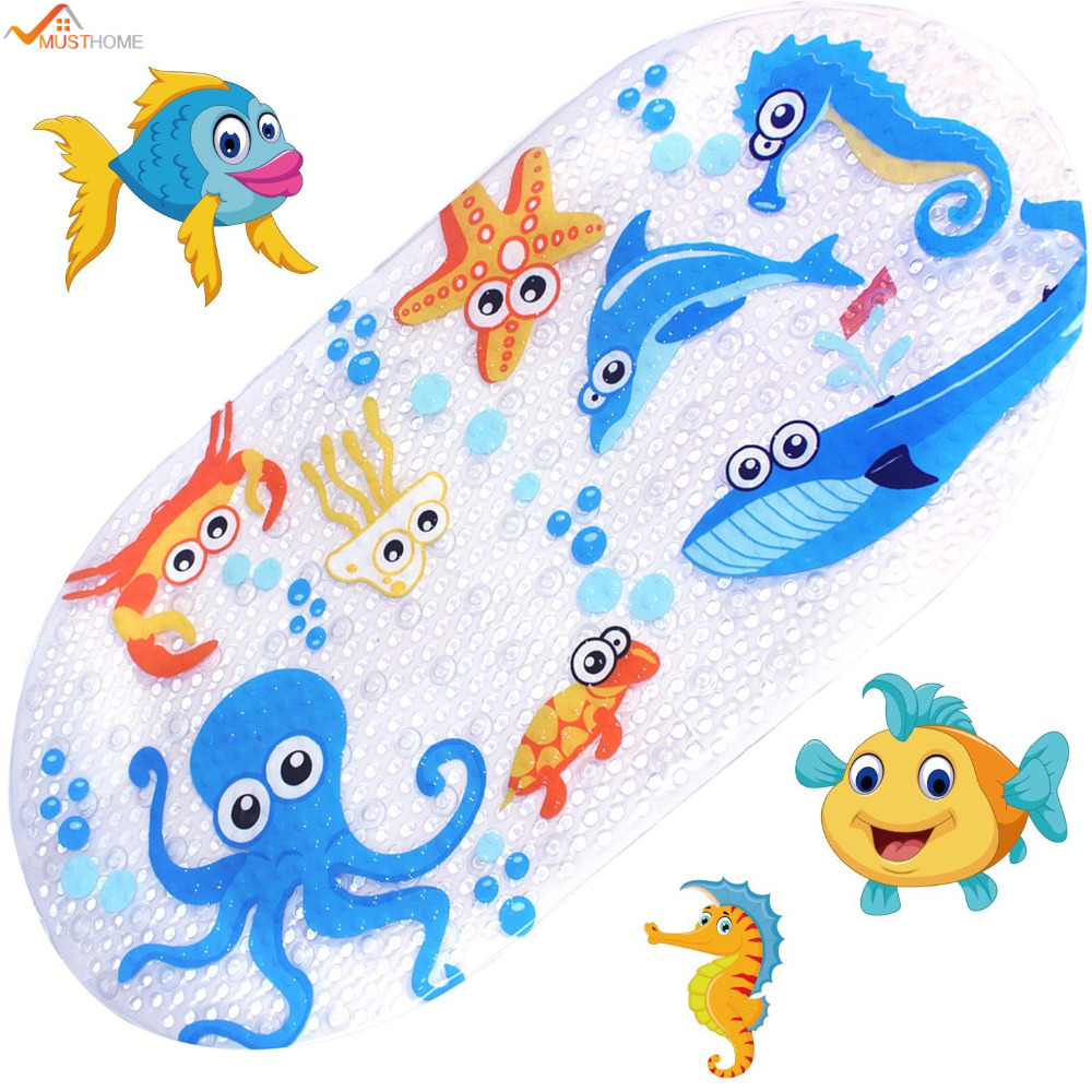39cmx69cm Baby Bath Mat Anti-Slip PVC Cartoon <font><b>Bathmats</b></font> Tub Mat with Suction Cup Toddler Fish Bathtub Mat