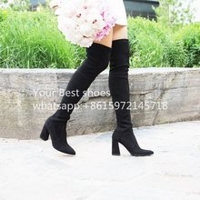 Highstreet Suede Over-The-Knee Boot 2016 women's new in boots thight high suede boots black chunky heel 8cm and 6cm knee boots