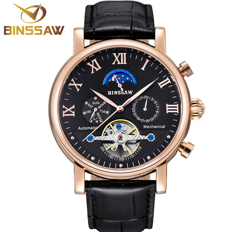 Для мужчин Tourbillon автоматические механические часы Мода Повседневное Роскошный топ бренда спорт оригинальный кожаный Бизнес фазы Луны часы