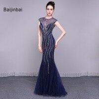 Baijinbai New Dark Blue Prom Dresses 2016 Short Sleeves O Neck Sequins Zipper Back Vestido De