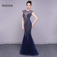 Baijinbai New Dark Blue Prom Dresses 2018 Short Sleeves O Neck Sequins Zipper Back Vestido De Festa Mermaid Party Dresses79052