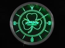 nc0131 Jameson Shamrock Beer Bar Whisky  Neon Sign LED Wall Clock