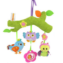 Baby Rattles Hanging Stroller Cartoon Animal Plush Infant Toys Bed Bell Teether for Kid 40% OFF(China)
