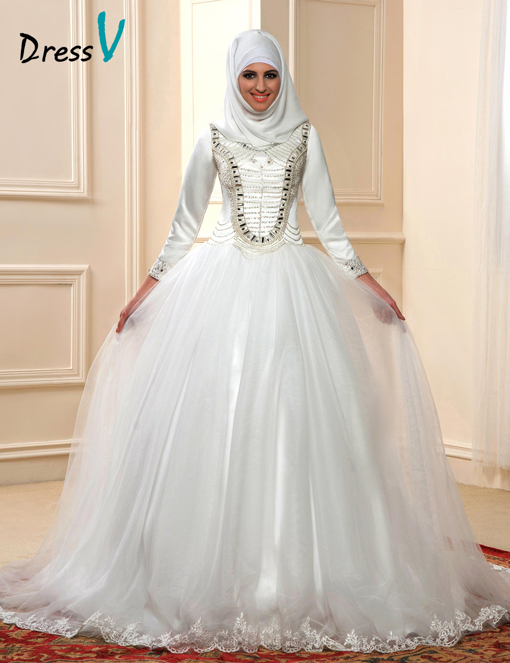 Online get cheap islamic bride alibaba group for Muslim wedding dress photo