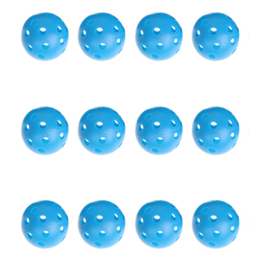 12pcs Blue Plastic Whiffle Airflow Hollow Golf Practice Training Balls Outdoor Sports Golf Acccessories