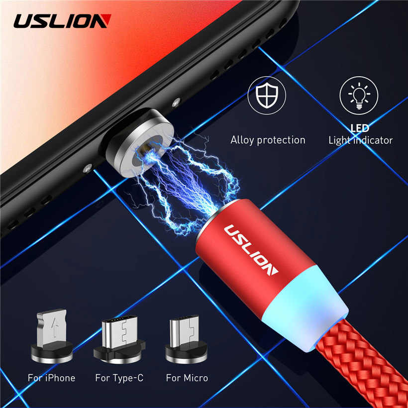 USLION LED Magnetic USB Cable Magnet Plug & USB Type C Cable & Micro USB Cable For Samsung Xiaomi For iPhone X 8 7 Fast Charging