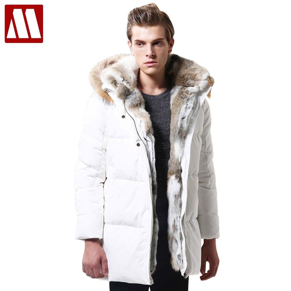 2018 зимняя новая теплая Толстая куртка Мужская Высокое качество меховой капюшон белый утиный пух сохраняет досуг куртка мужская куртка плюс...
