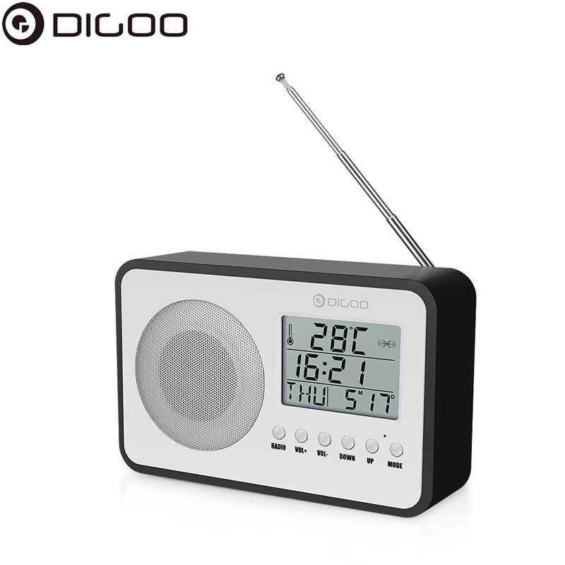 Digoo DG FR600 SmartSet Wireless Wood Grain Vintage Digital FM Radio Alarm Clock Subwoofer Sound With Temperature Display